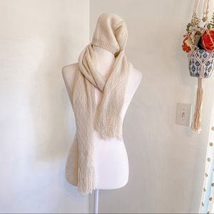 MixIt Cream Shimmer Beanie and Scarf Combo